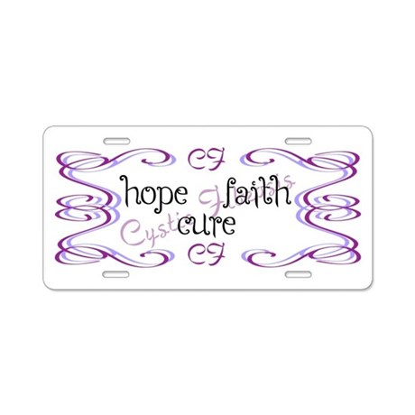 CF Hope Faith Cure Curls Aluminum License Plate