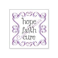 "CF Hope Faith Cure Curls Square Sticker 3"" x 3"""