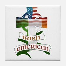 Irish American Celtic Cross Tile Coaster