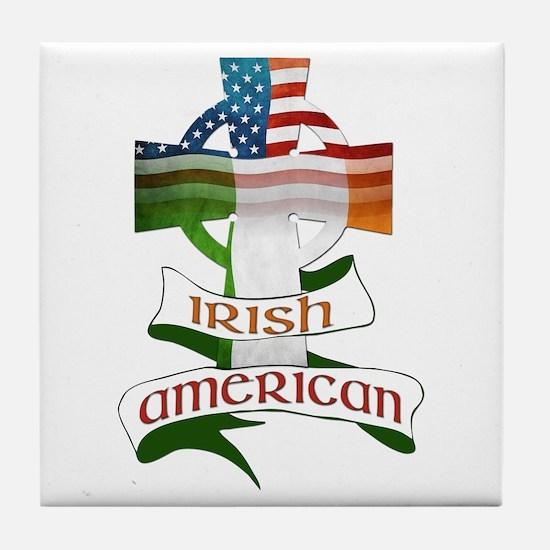 Irish American Celtic Cross Tile Coaster