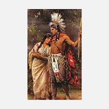 Funny Native american woman Sticker (Rectangle)
