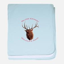 bull elk charging baby blanket