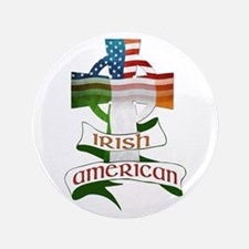 "Irish American Celtic Cross 3.5"" Button"