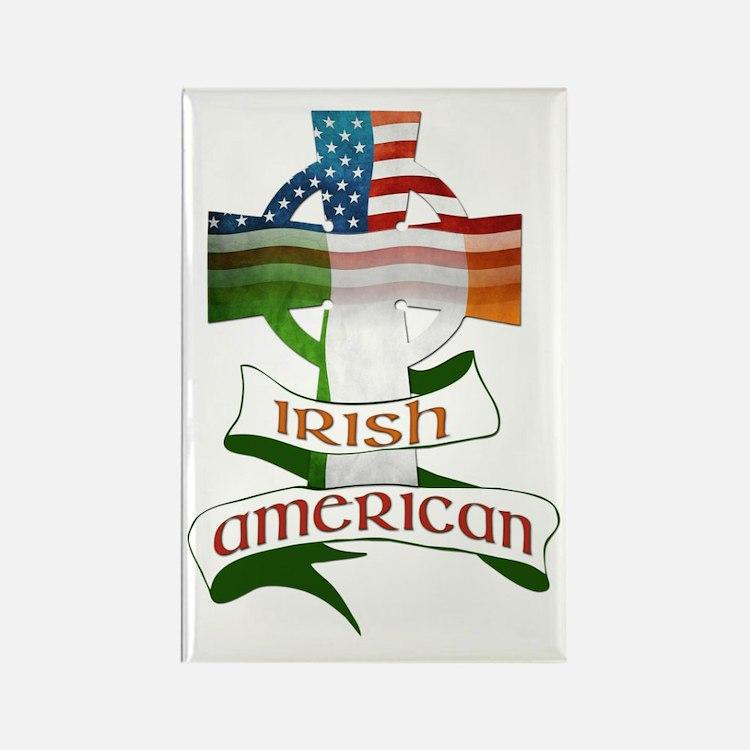 Irish American Celtic Cross Rectangle Magnet