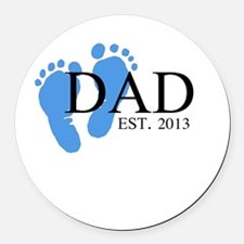 Dad, Est. 2013 Round Car Magnet