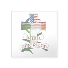 Irish American Celtic Cross Square Sticker 3""