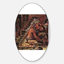 Cute Native american woman Sticker (Oval)