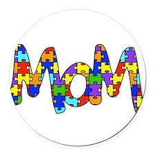 Mom Autism Awareness Round Car Magnet