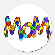 Mom Autism Awareness Round Car Magnet