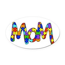 Mom Autism Awareness Oval Car Magnet