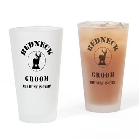 REDNECK GROOM Drinking Glass