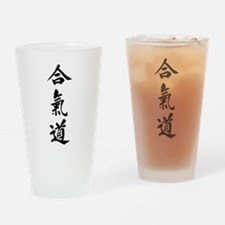 Aikido in Japanese calligraphy Drinking Glass