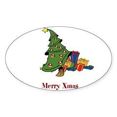 OYOOS Merry Xmas Tree design Sticker (Oval)