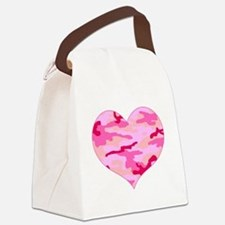 Pink Camo Heart Canvas Lunch Bag