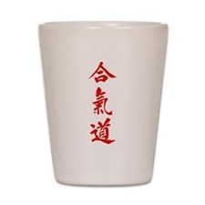 Aikido red in Japanese calligraphy Shot Glass