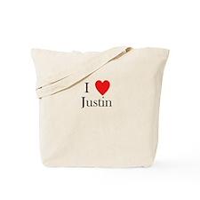 i love justin heart Tote Bag