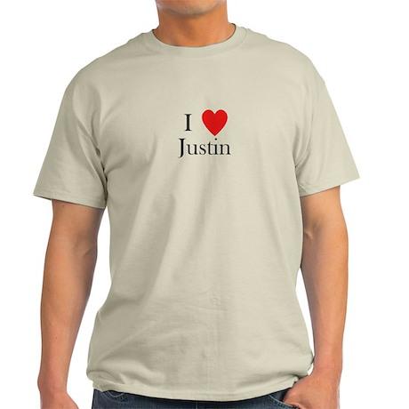 i love justin heart Light T-Shirt