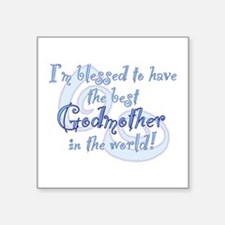 "Blessed Godmother BL Square Sticker 3"" x 3"""