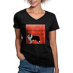 OYOOS Dog Attitude design Women's V-Neck Dark T-Sh