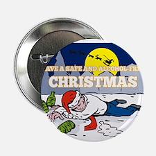 "Drunk Man Wearing Santa Hat 2.25"" Button"
