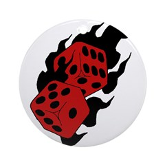 Flaming Dice Ornament (Round)