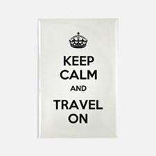 Keep Calm Travel On Rectangle Magnet