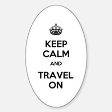 Keep Calm Travel On Sticker (Oval)