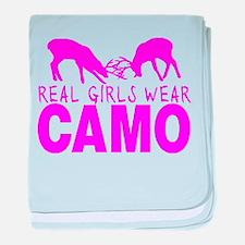 REAL GIRLS WEAR CAMO baby blanket