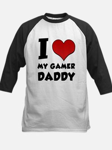 I Love My Gamer Daddy Kids Baseball Jersey