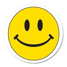 Big Yellow Happy Face Round Car Magnet