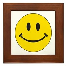 Big Yellow Happy Face Framed Tile