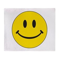 Big Yellow Happy Face Throw Blanket