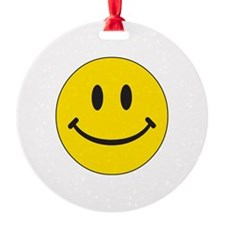 Big Yellow Happy Face Round Ornament