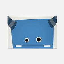 Blue Horned Monster Rectangle Magnet