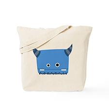 Blue Horned Monster Tote Bag