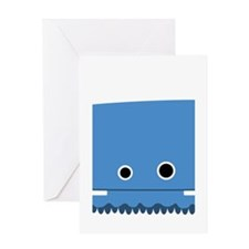 Blue Horned Monster Greeting Card