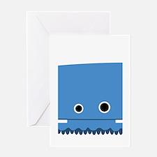 Blue Horned Monster Greeting Card