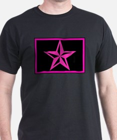 Hot Pink Nautical Star Black T-Shirt