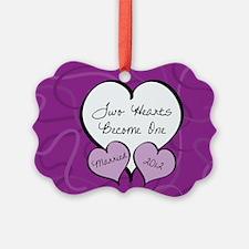 Purple 2 Hearts Married 2012 Ornament