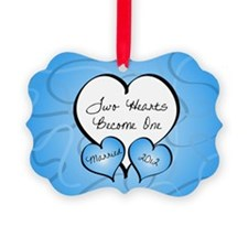 Blue 2 Hearts Married 2012 Ornament