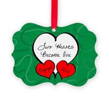 Green Red 2 Hearts Engaged 2012 Ornament