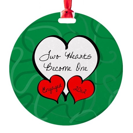 Green Red 2 Hearts Engaged 2012 Round Ornament