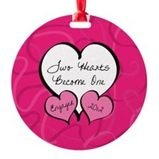 Pink 2 Hearts Engaged 2012 Ornament