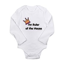 rulerofthehouse-w-crown.png Long Sleeve Infant Bod