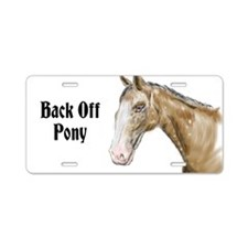 Back Off Pony Aluminum License Plate