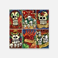 """Day of the Dead Sugar Skulls Square Sticker 3"""" x 3"""