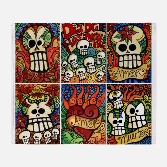 Day of the Dead Sugar Skulls Throw Blanket