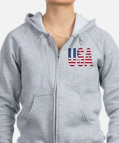 USA flag 2 Side Zip Hoodie