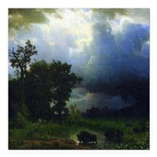 """Bierstadt Before The Storm Square Car Magnet 3"""" x"""