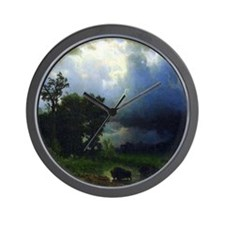 Bierstadt Before The Storm Wall Clock